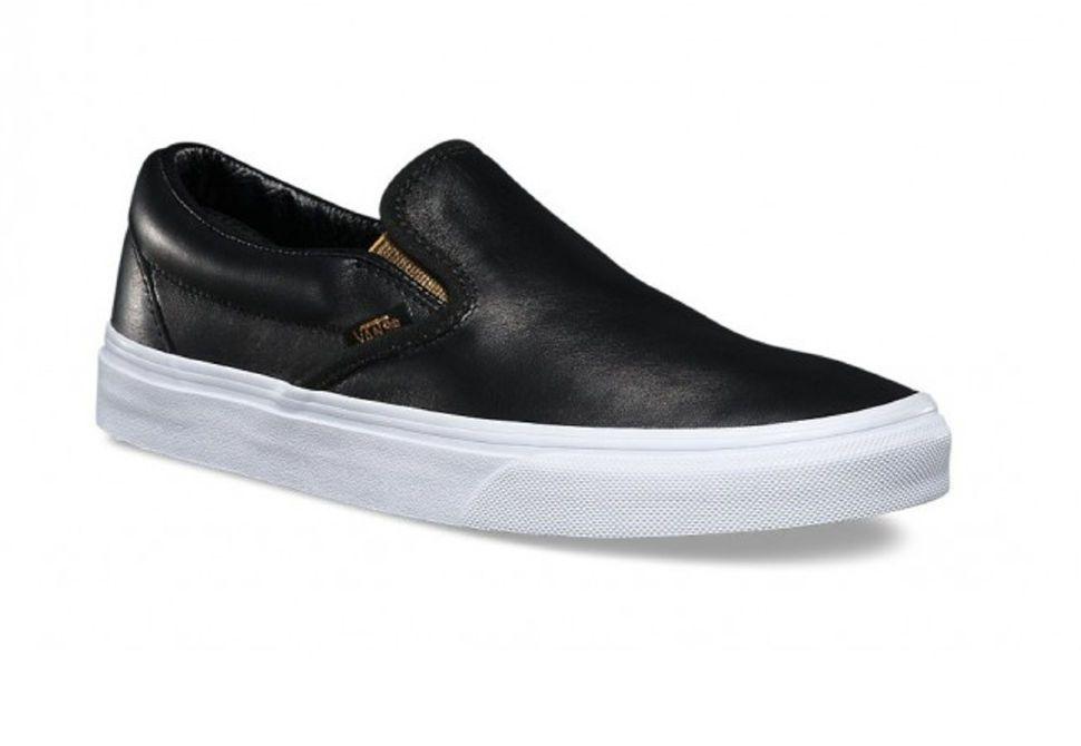 Кожаные кеды Vans Classic Slip-On (Metallic Gore) V004MPJRB черные ... 1f2e4b73a3250